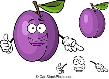 Happy purple cartoon plum fruit giving a thumbs up
