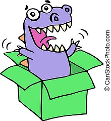 Happy purple dragon in green box