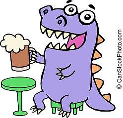 purple dragon sitting with a mug of beer