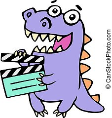 purple dragon with movie clapper board