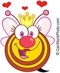 Happy Queen Bee With Hearts