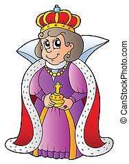 Happy queen on white background - vector illustration.