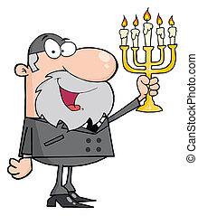 Happy Rabbi Man Holding Up A Menorah