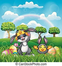 Happy rabbit and chicken cartoon in costume with easter egg