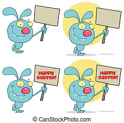Rabbit Holding Up A Blank Sign