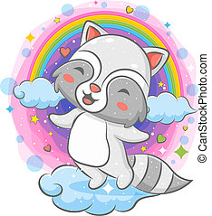 Happy raccoon playing on the cloud with rainbow background