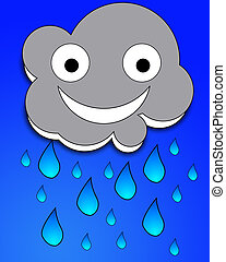 Happy Rain Cloud - A happy but very rainy cartoon cloud.