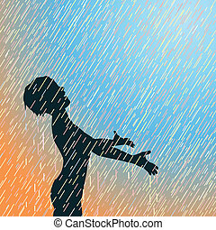 Happy rain - Editable vector illustration of a young boy...