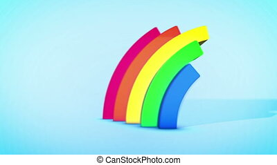 """Happy Rainbow Arces in Celeste Backdrop"""