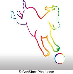 Happy rainbow dog with ball logo