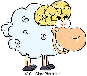 Ram Cartoon Mascot Character - Happy Ram Cartoon Mascot...