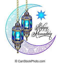 Happy Ramadan design for greeting card, poster, banner with...