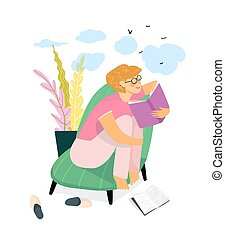 Young girl reading a book at home or in the library and dreaming. Everyday life routine. Cozy Home interior design, studying and relaxing at home reading book concept. Vector illustration design.