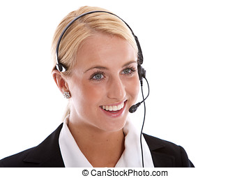 Happy receptionist - Attractive young woman with ...