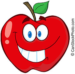 Apple Cartoon Mascot Character - Happy Red Apple Cartoon...