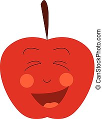 Happy red apple face vector or color illustration