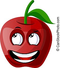 Happy red apple illustration vector on white background