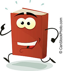 Happy Red Book Character Running - Illustration of a funny...