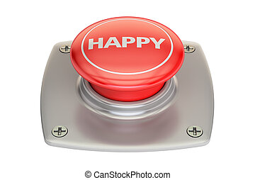 Happy Red Button, 3D rendering