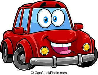 Happy Red Car Cartoon Character