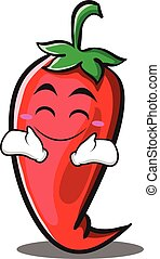 Happy red chili character cartoon