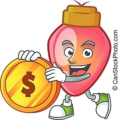 happy red christmas bulb cartoon character with gold coin