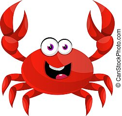 Happy red crab, illustration, vector on white background.