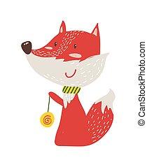 Happy Red Fox with Yo-yo Icon Vector Illustration - Happy...