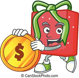 happy red gift box cartoon character with gold coin