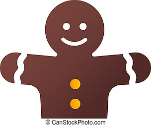 Happy red gingerbread, illustration, vector on white background.