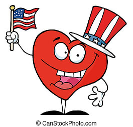 Happy Red Heart In A Patriotic Hat