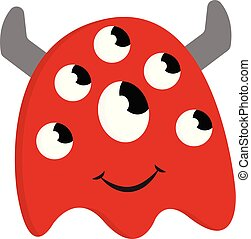 Happy red monster with many eyes and grey horns vector illustration on  white background