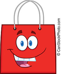 Happy Red Shopping Bag