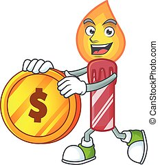 happy red stripes candle cartoon character with gold coin