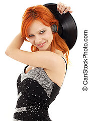 happy redhead with vinyl record over white