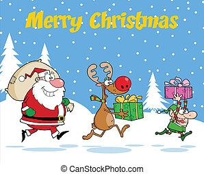 Happy Reindeer, Elf And Santa Claus