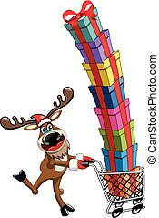 Happy Reindeer running and pushing cart full of gifts...