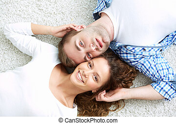 Happy relationship - Portrait of smiling young people being...