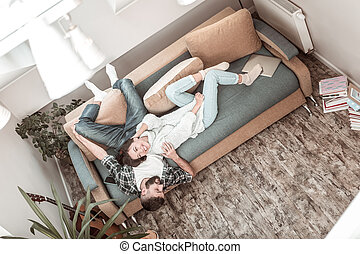 Top view of a happy cheerful couple