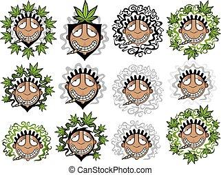happy relaxed guy marijuana stamps