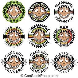 smiling happy relaxed guy smoking marijuana joint vector illustration