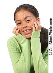 Happy relaxed teenage girl