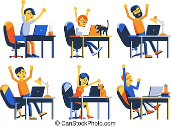 Happy remote worker with laptop jumped up for joy