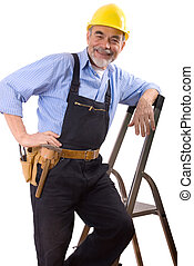 happy repairman with drill and tool-belt