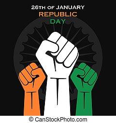 happy republic day greeting design or unity concept vector