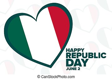 Happy Republic Day in Italy. June 2. Holiday concept. Template for background, banner, card, poster with text inscription. Vector EPS10 illustration.