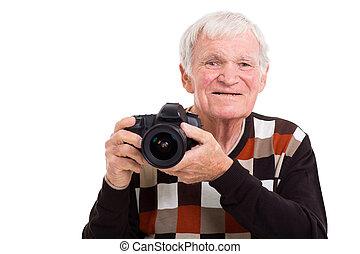 elderly photographer with camera