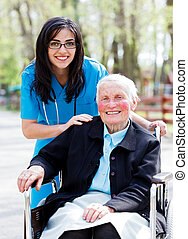 Happy Retired Patient With Kind Doctor - Kind doctor, nurse...