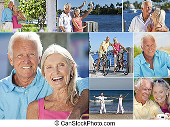 Happy retirement senior man and woman couple on an active romantic vacation together cycling and at the beach in summer sunshine