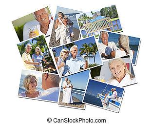 Happy Retired Senior Couples Montage Romantic Vacation